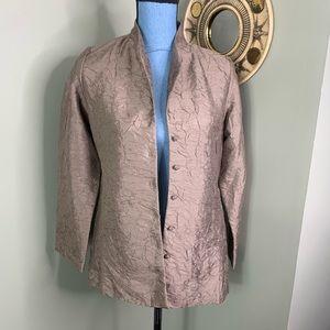 Eileen Fisher Silk Button Blazer Bronze